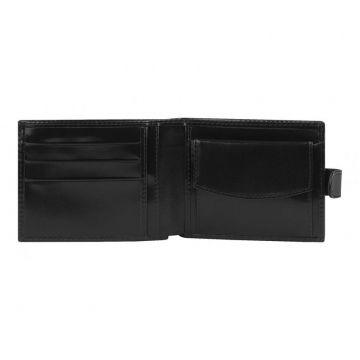 Мужской кошелёк кожаный чёрный на кнопке в одно сложение