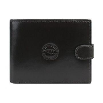 Мужской кошелёк кожаный коричневый на кнопке купить в спб