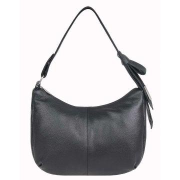 сумка женская на коротком ремне кожаная (чёрная)