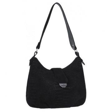 сумка женская замшевая с тиснением (чёрная)