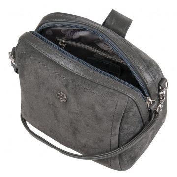 сумочка женская замшевая миниатюрная (серая)