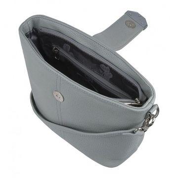 сумка женская кожаная через плечо (серая)