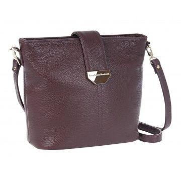 сумка женская кожаная через плечо (вишневая)