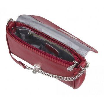 сумка-клатч женская кожаная на цепочке (гранат)