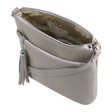 сумка женская кожаная через плечо (латте)