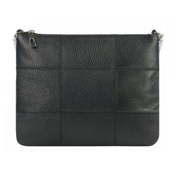 сумочка женская кожаная через плечо на цепочке (чёрная)