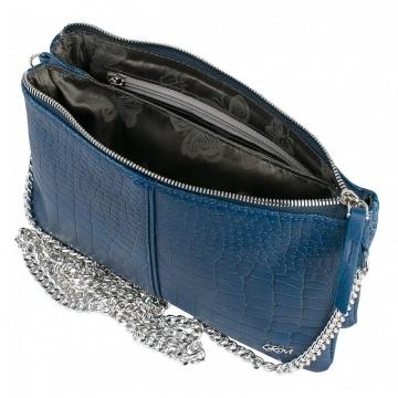 Женская синяя сумочка через плечо на цепочке кожаная