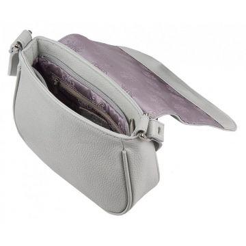 сумка женская кожаная через плечо (светло-серая)