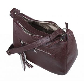 сумка женская из натуральной кожи (вишневая)