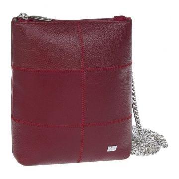 сумочка женская кожаная на цепочке (красная)
