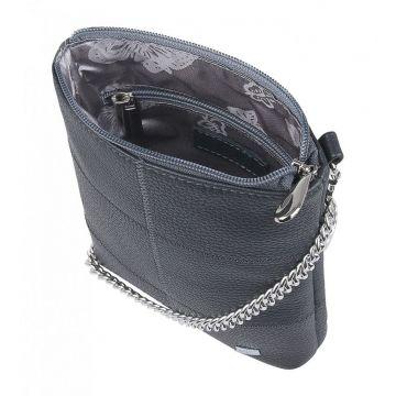 сумочка женская кожаная на цепочке (темно-серая)