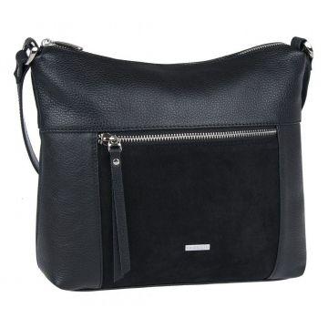 сумка женская из натуральной кожи и замши (чёрная)