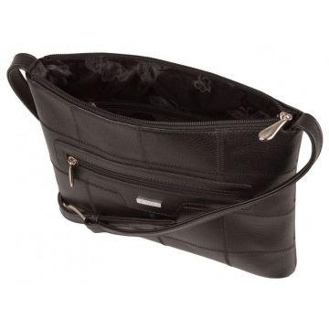 кожаная сумка через плечо женская (чёрная)