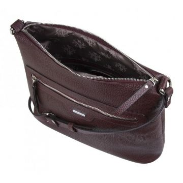 сумка женская через плечо из натуральной кожи (вишня)