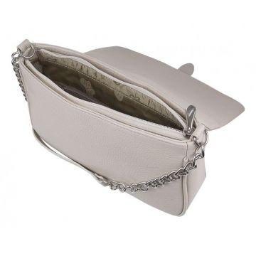 сумка женская кожаная через плечо (слоновая кость)