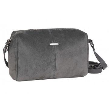 сумка женская замшевая через плечо (серая)