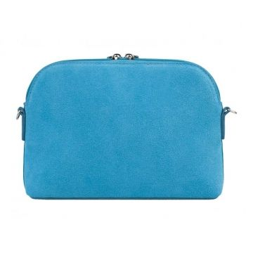 сумочка женская замшевая через плечо (голубая)