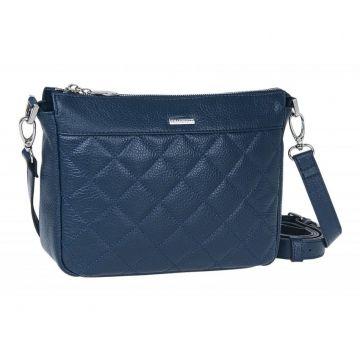 сумка женская через плечо кожаная (синяя)