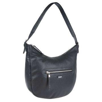 сумка женская с одной ручкой кожаная (чёрная)