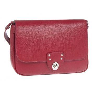 сумка женская кожаная через плечо (красная)