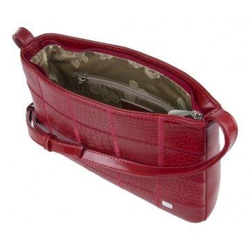 сумочка женская кожаная через плечо (красная)