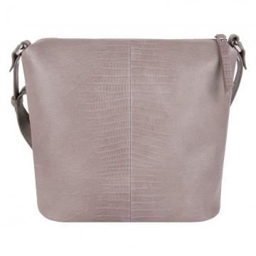Женская небольшая сумка через плечо бежевая под рептилию