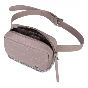 Поясная женская сумка светлая кожаная на цепочке