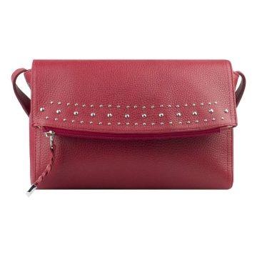 сумка женская через плечо из натуральной кожи (гранатовая)