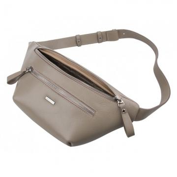 Поясная сумка женская из натуральной кожи светлая