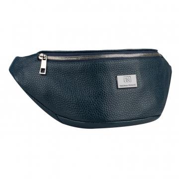 сумка женская поясная из натуральной кожи (синяя)