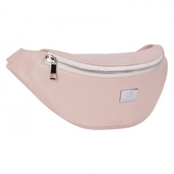 Поясная сумка женская из натуральной кожи светло-розовая