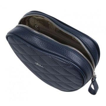 сумка поясная женская из натуральной кожи (синяя)