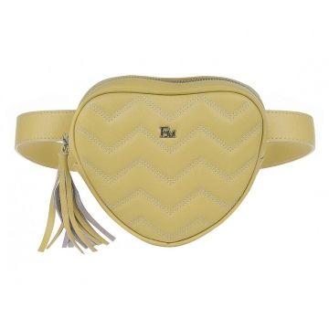 сумка поясная женская из натуральной кожи (жёлтая)