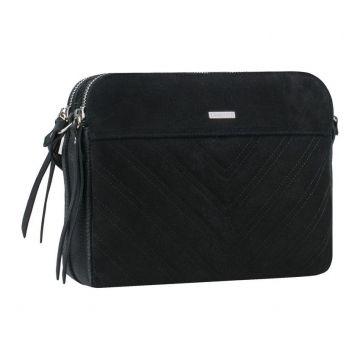 сумка женская замшевая через плечо (чёрная)
