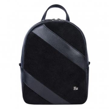 Замшевый женский городской рюкзак чёрный