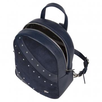 рюкзак женский из натуральной замши и кожи (синий)