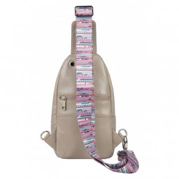 женская нагрудная сумка из натуральной кожи