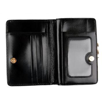 женский кожаный кошелек (черный) 0-299С-45 л