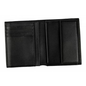 """мужской кожаный кошелек (черный) 0-18В галант """"Кора"""""""