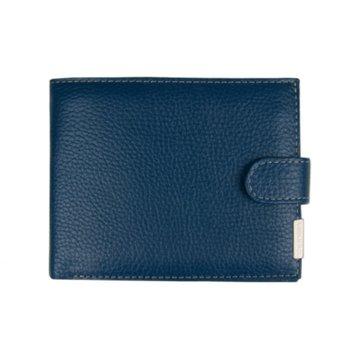 мужской кожаный кошелек (синий)