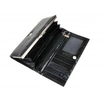 женский кожаный кошелек (черный) 0-50/2С скат11 черн