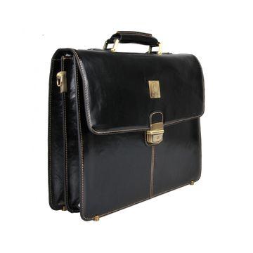 деловой портфель из итальянской глянцевой натуральной кожи (черный)