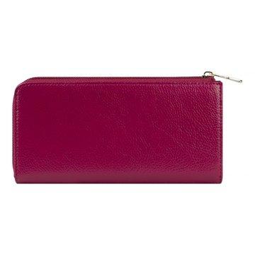 Женский розовый кожаный кошелёк на молнии