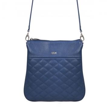 женская сумка через плечо кожаная (синяя)