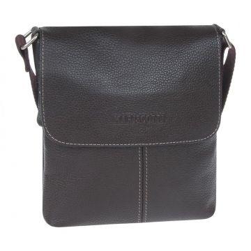 сумка-планшет с клапаном мужская кожаная (коричневая)