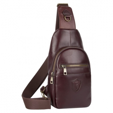 мужская нагрудная сумка из натуральной кожи (коньячная)