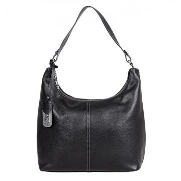 женская сумка кожаная с одним ремешком (черная)
