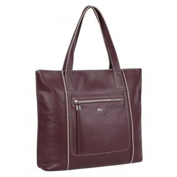 Женская сумка с двумя ручками кожаная (вишневая)