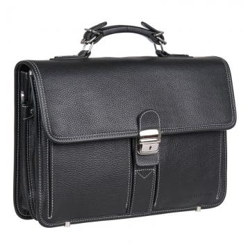 Портфель мужской кожаный черный с контрастной строчкой