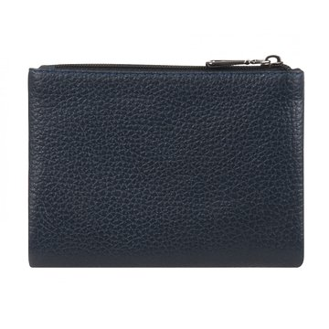 женский кожаный кошелек в одно сложение (синий)